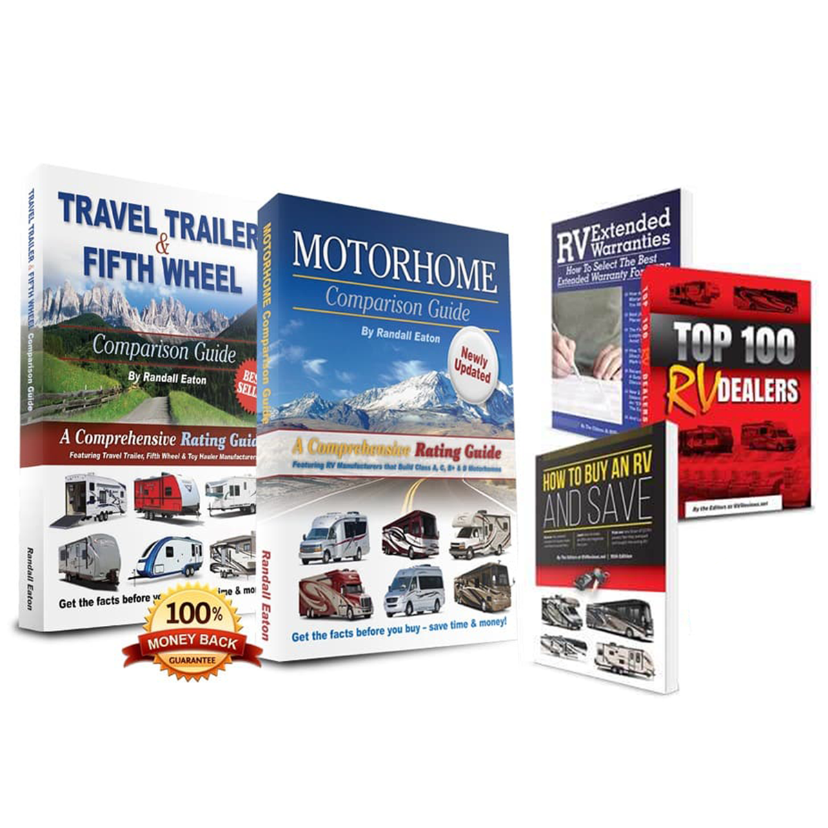 Travel trailer guide, motorhome guide, and the three bonus offer books